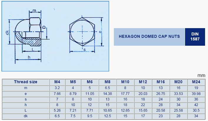 Hex Domed Nut - DOMED CAP NUTS - Dowson's Fasteners Co ,Ltd